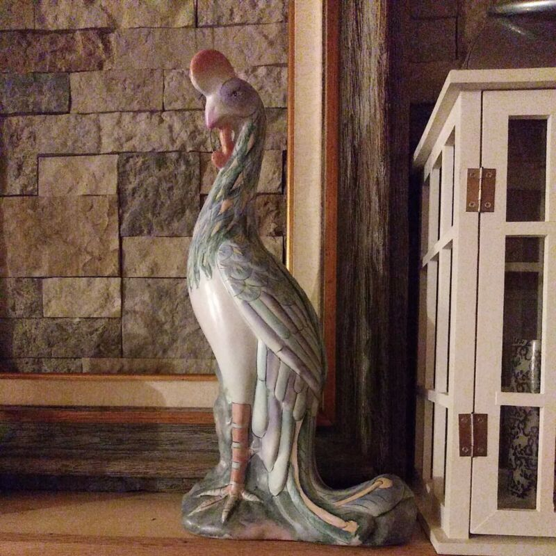 Vintage Porcelain Peacock 17in Large Statue Hand-painted Wbi China