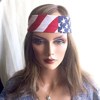 - Flag Headband Festival Sweatband Unisex Free Ship Stars Stripes Red White Blue