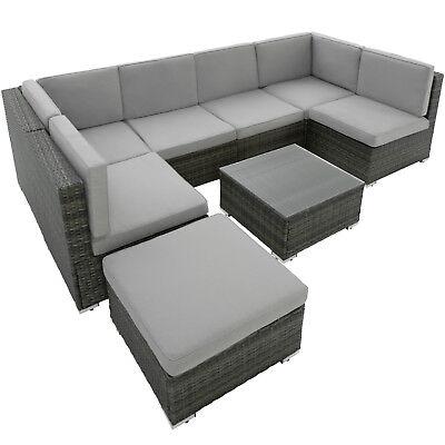 Set di Mobilia da Giardino Poli Rattan Set 6 Sedili 1 Sgabello 1 Tavolino grigio