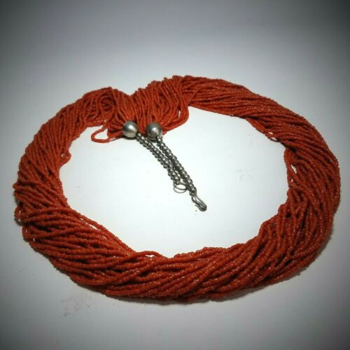 "VTG 36"" Mediterranean Red Coral Seed Bead Multi 30 Strand Necklace Torsade 190g"