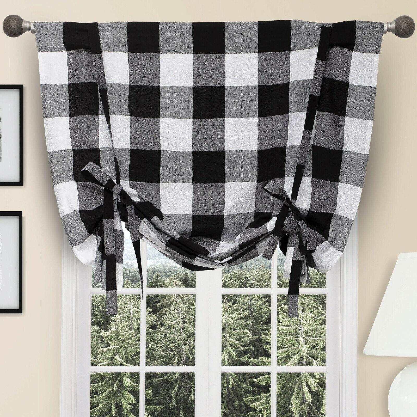 Country Farmhouse Rod Pocket Black /& White Plaid Tie Up Window Curtain Shade