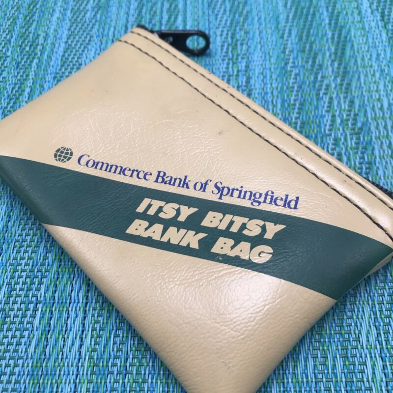 "Tan Mini Deposit Bag 5"" Coin Change Purse Advertising Commerce Bank Springfield"