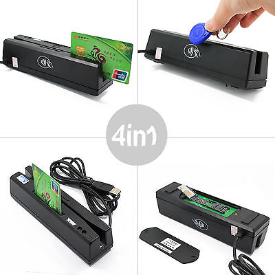 New 4 In 1 Magnetic Stripe Credit Card Emv Ic Chip Rfid Psam Reader Writer