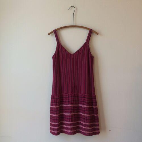 Theory Pink Blue Striped Cotton Drop Waist Sleeveless Beaded Dress EUC Sz 2