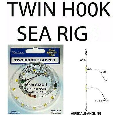 Sea Fishing Tackle Twin Hook Flapper Rig Size 1 Hooks Mackerel Bass Flattie Rigs
