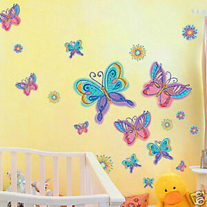 Pink-Blue-Purple-Butterfly-Removable-Wall-Sticker-Flower-Home-Vinyl-Kids-Nursery