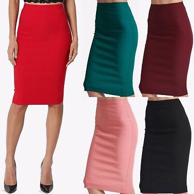 (TheMogan Women's S~3XL Stretch Woven Elastic High Waist Knee Midi Pencil Skirt)