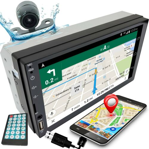 """7"""" 2DIN Car Stereo Radio D-Play Touch Screen USB MP5 Player Mirror Link w/Cam C1"""