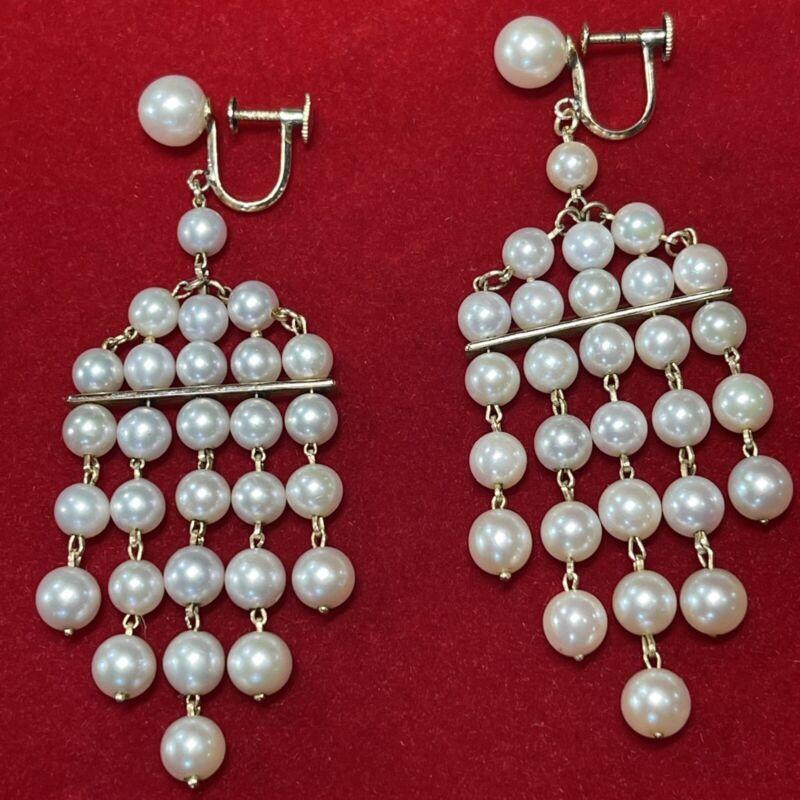 Vintage 14k Yellow Gold Screw Dangle Earrings Genuine Pearl Chandelier