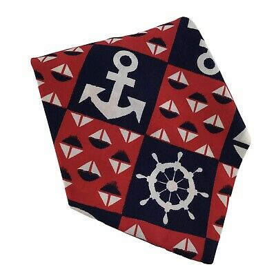 1960s – 70s Men's Ties | Skinny Ties, Slim Ties Vintage 1960s Men's Wide Preppy Red Blue Sailboat Anchor Nautical Tie Cotton $9.71 AT vintagedancer.com