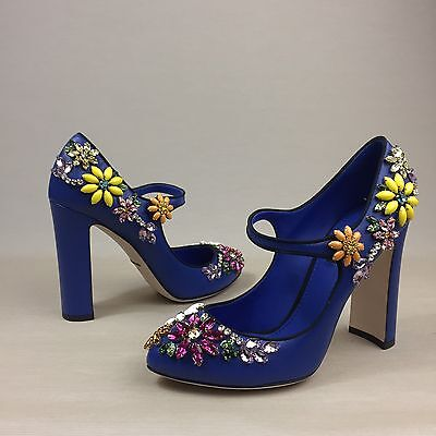 New DOLCE GABBANA Blue Leather Embellished Floral Crystal Mary Jane Shoes Pumps