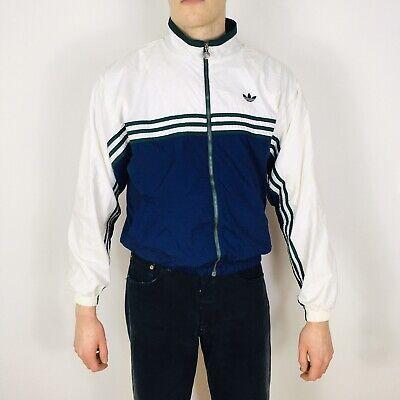 Vintage Adidas Originals Men's Small White/Blue Windbreaker Jacket Full Zip