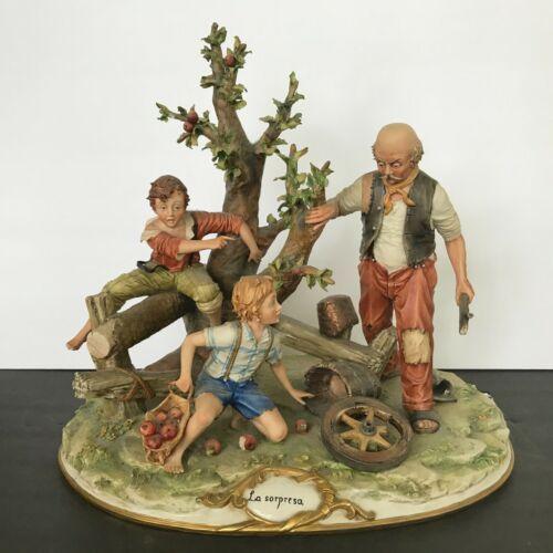 Large Vintage Capodimonte, Tom Sawyer & Huck Finn Stealing Apples Again!  Mint.