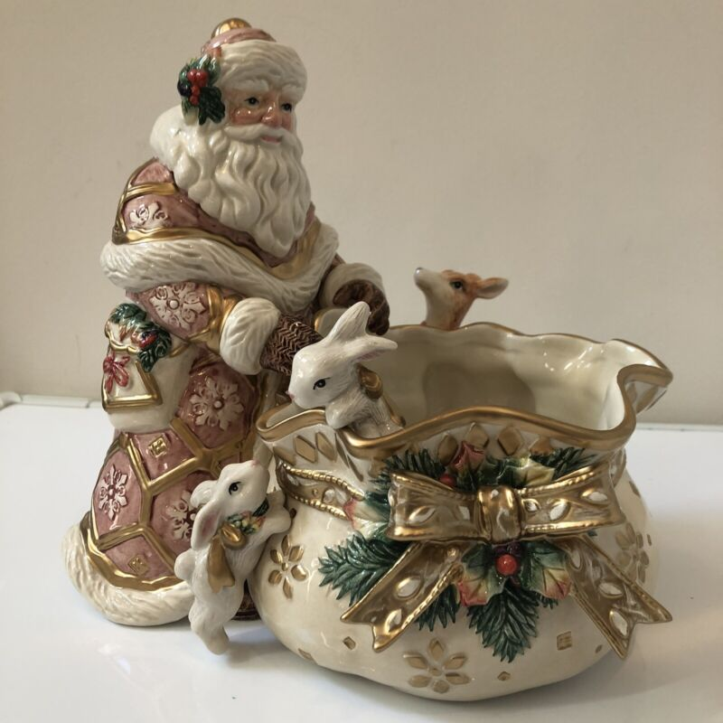 Vintage FITZ & FLOYD Snowy Woods Candy Dish Santa with Deer & Bunnies New in Box
