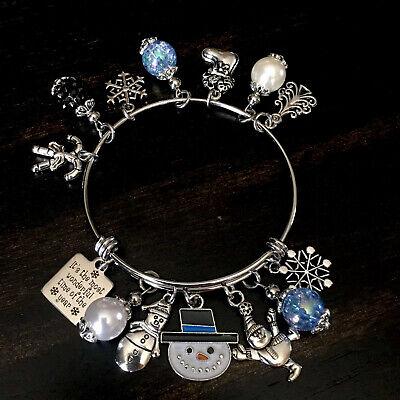Christmas Tree Snowflake Snowman Holiday Charm Bangle Bracelet Xmas Jewelry -