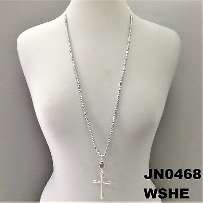 Hematite Beads Religious Hammered Cross Silver Tone Pendant Necklace JN0468 WSHE