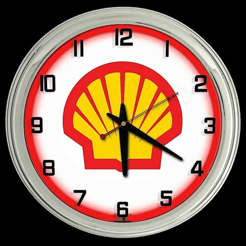 """16"""" Shell Gas Motor Oil Sign Red Neon Clock Chrome Finish Gasoline"""