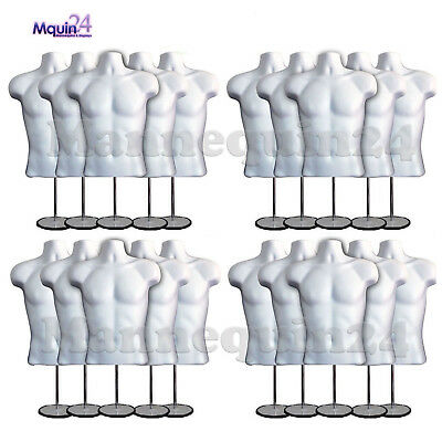 20 Pack Male Torso Mannequin Forms W20 Stands 20 Hangers White Men Display