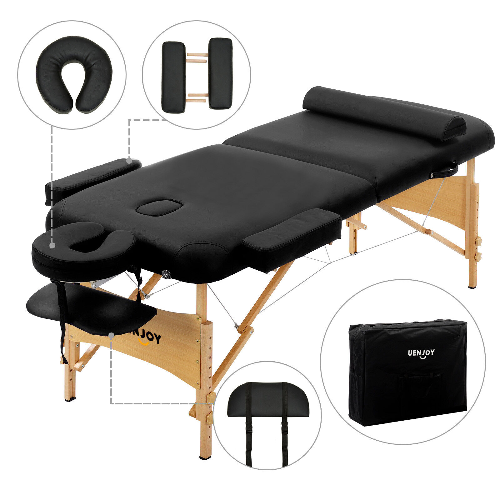 "84""L Fold Portable Massage Table Facial SPA Bed Tattoo w/Fre"
