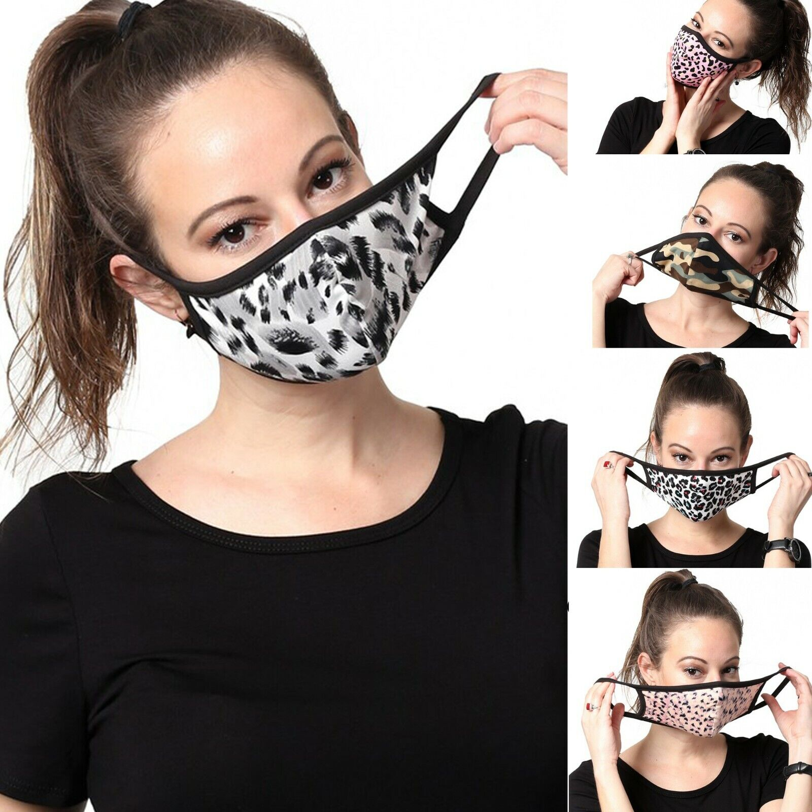 Womens Fashion Face Mask Pattern Washable Reusable Cloth Cotton-lined Inside Health & Beauty