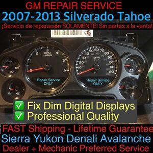 REPAIR SERVICE 2007-10 GM Silverado Tahoe Suburban Gauge Cluster Digital Display