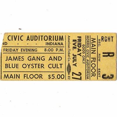 BLUE OYSTER CULT & JAMES GANG Concert Ticket Stub SOUTH BEND IN 7/27/73 MORRIS