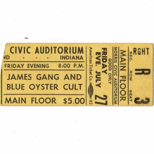 BLUE OYSTER CULT & JAMES GANG Concert Ticket Stub 1973 SOUTH BEND INDIANA MORRIS