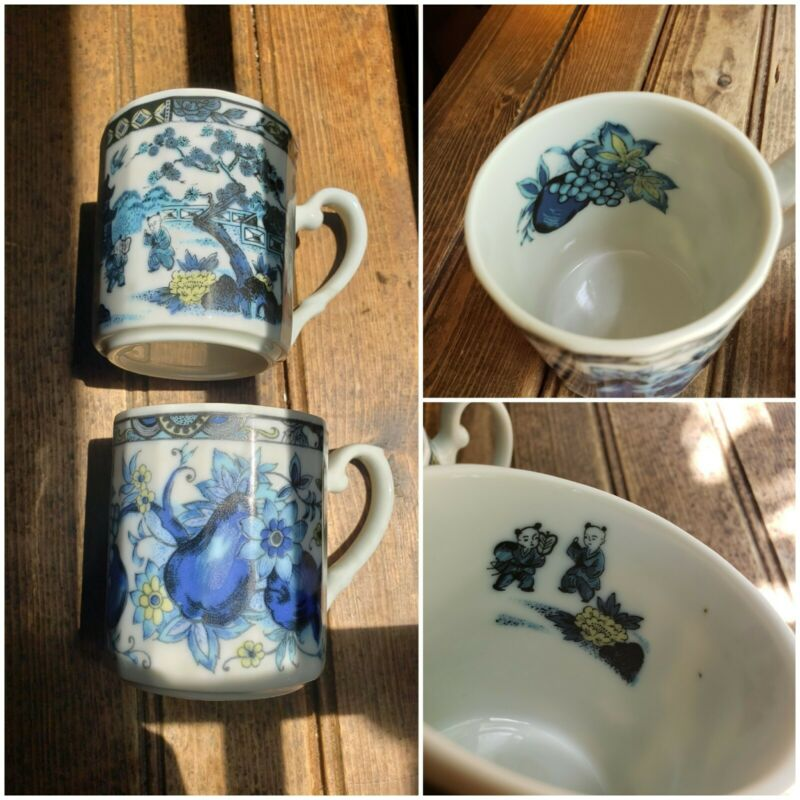 VTG Rare SET OF 2 Blue & White Chinese Coffee Cup Mug Porcelain Flower Tree
