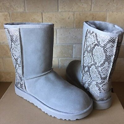 Metallic Classic Short (UGG Classic Short Metallic Snake Silver Grey Suede Fur Boots Size US 10 Womens)