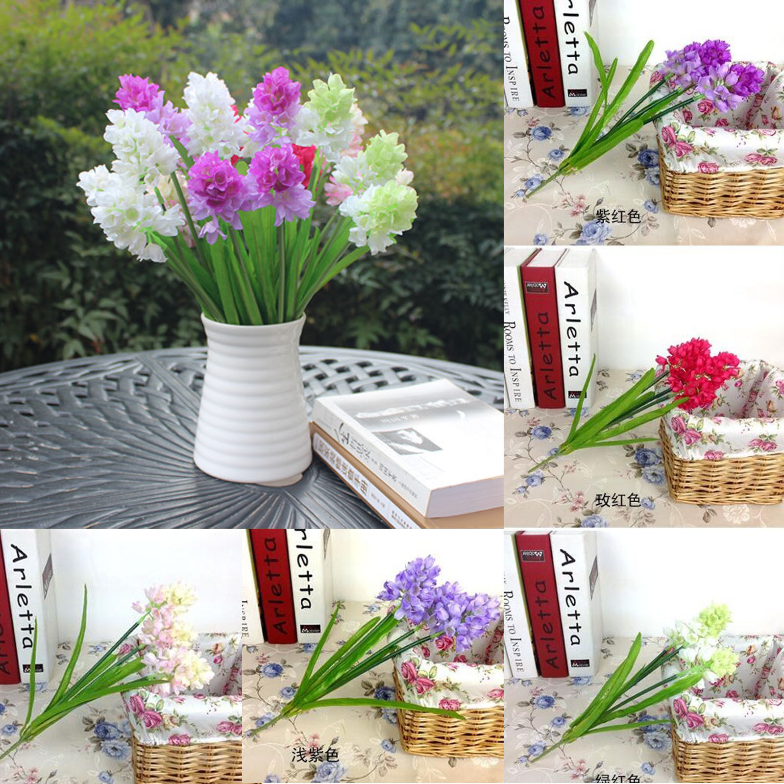 3 flower heads artificial silk hyacinth leaf wedding party floral bouquet decor - Flowers For Home Decor