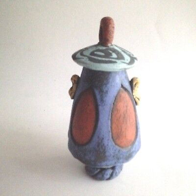 Ceramic Vase With Lid Hand Carved and Painted Funky Boho HIPPIE Design 5.5