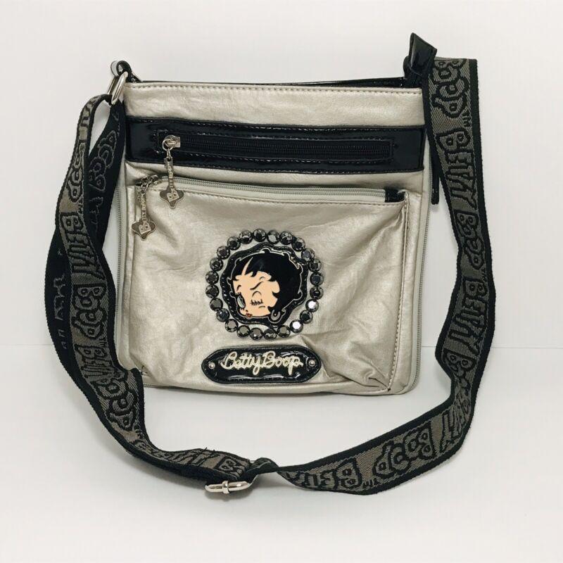 Betty Boop Crossbody Purse Handbag Expandable Silver Hobo Bling *READ*