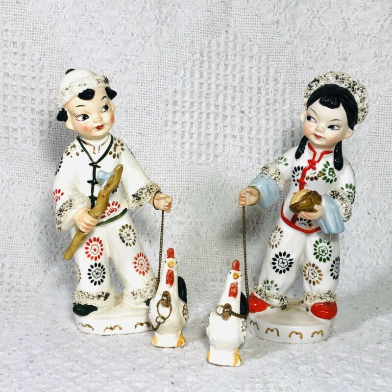 Vintage Ucagco Japan Figurines Pair Ceramic Hand Painted Children With Rooster