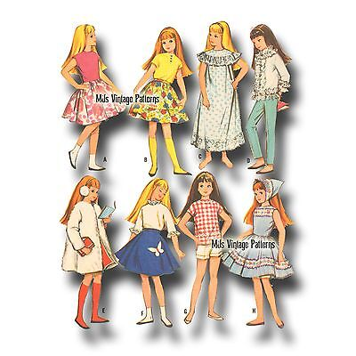 Vtg 1960s Doll Clothes Pattern ~ Skipper Pepper and friends