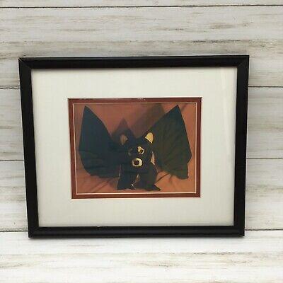 Vintage Halloween Corgi Dog Photograph Dressed as Kung Fu Bat Vampire Framed