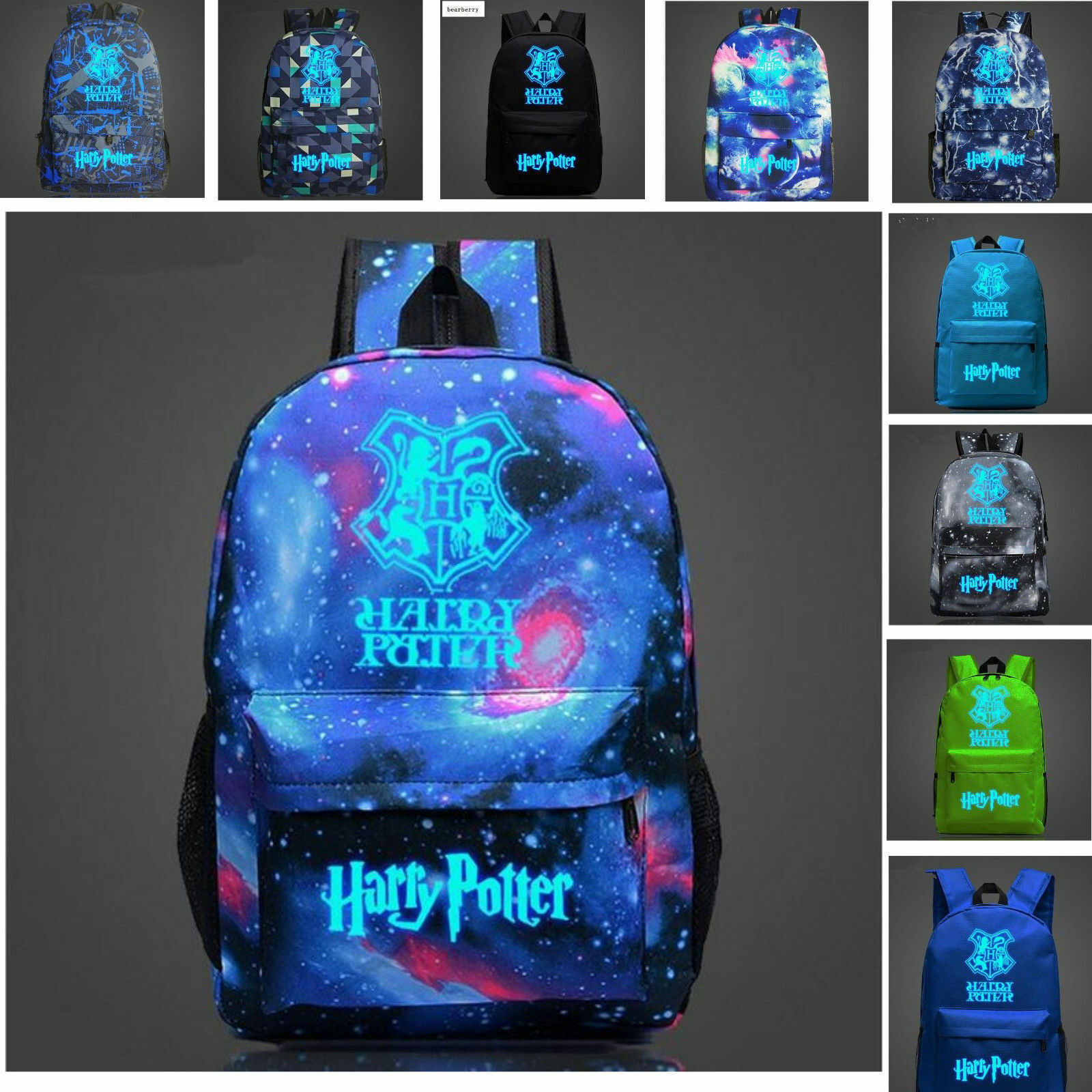 Large Blue&Black HARRY POTTER Glow In The Dark Backpacks School Bags Bags