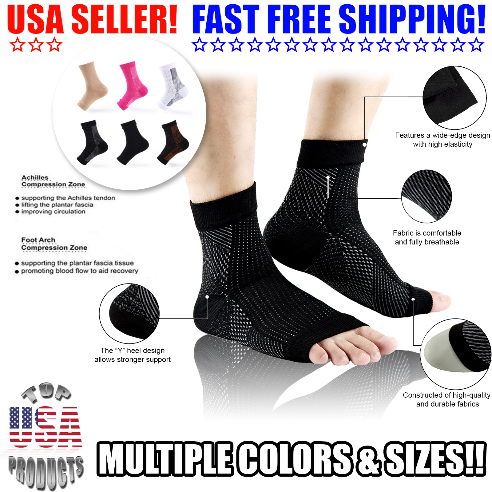 2 Open Toe Compression Ankle Socks Support Stockings Sleeve
