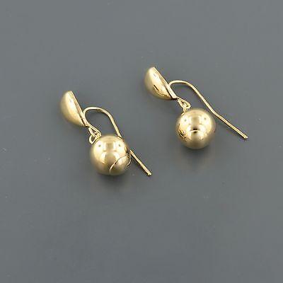 10K Yellow Gold High Polished Teardrop W 8Mm Ball Dangle Earrings