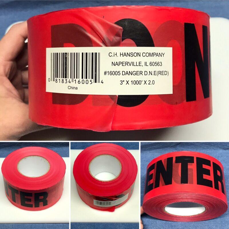 "CH Hanson #16005 DANGER DNE Barricade Safety Tape,Black/Red, 3"" X 1000"