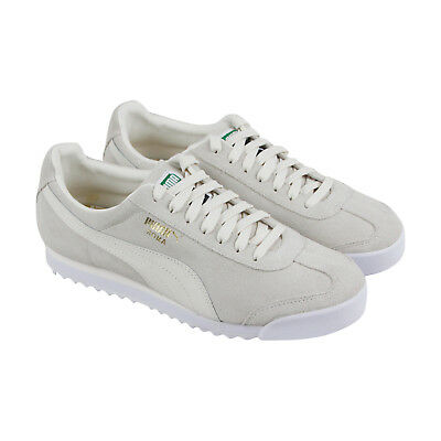 Puma Roma Suede Mens White Suede Lace Up Sneakers Shoes
