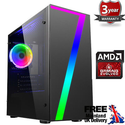 Computer Games - Ultra Fast AMD 9600 Quad Core 4.2 HD 8GB 120GB SSD Gaming PC Computer Seven RGB