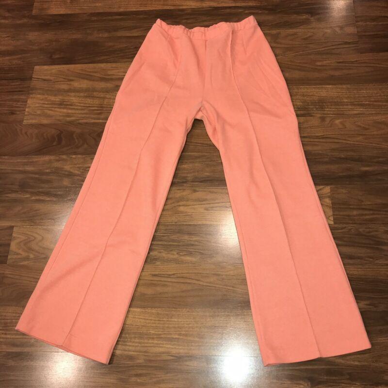 Vtg 60s 70s Orange POLYESTER Disco Leisure Suit STRETCH Pants Hippie Womens 16
