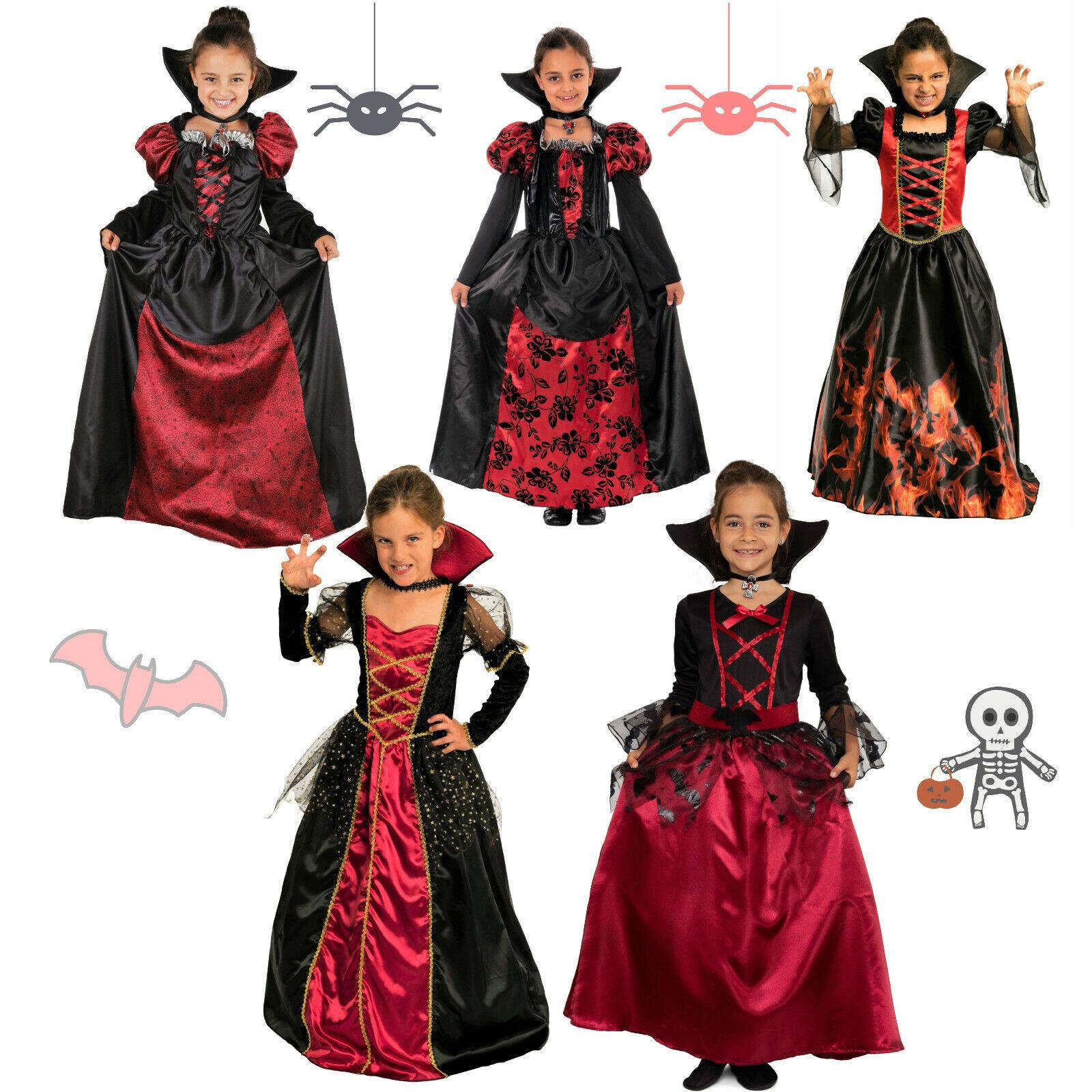 Vampir Halloween Kostüm Kinder Mädchen Halloweenkostüm Skelett Kind Fasching rot