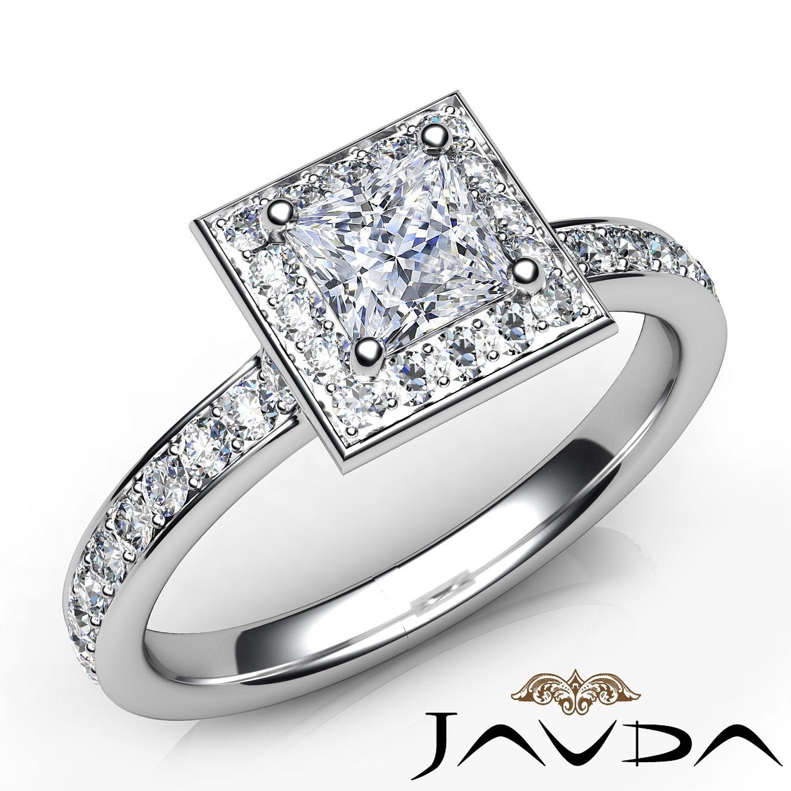 1.06ctw Gala Halo Pave Princess Diamond Engagement Ring GIA F-VVS1 White Gold