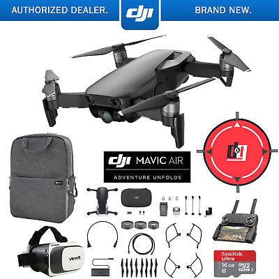DJI Mavic Air Onyx Black Drone Mobile Go Pack VR Goggles Landing Pad 16GB Bundle