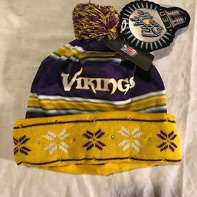 Minnesota Vikings NFL  knit beanie cap hat forever collectibles Light emUp