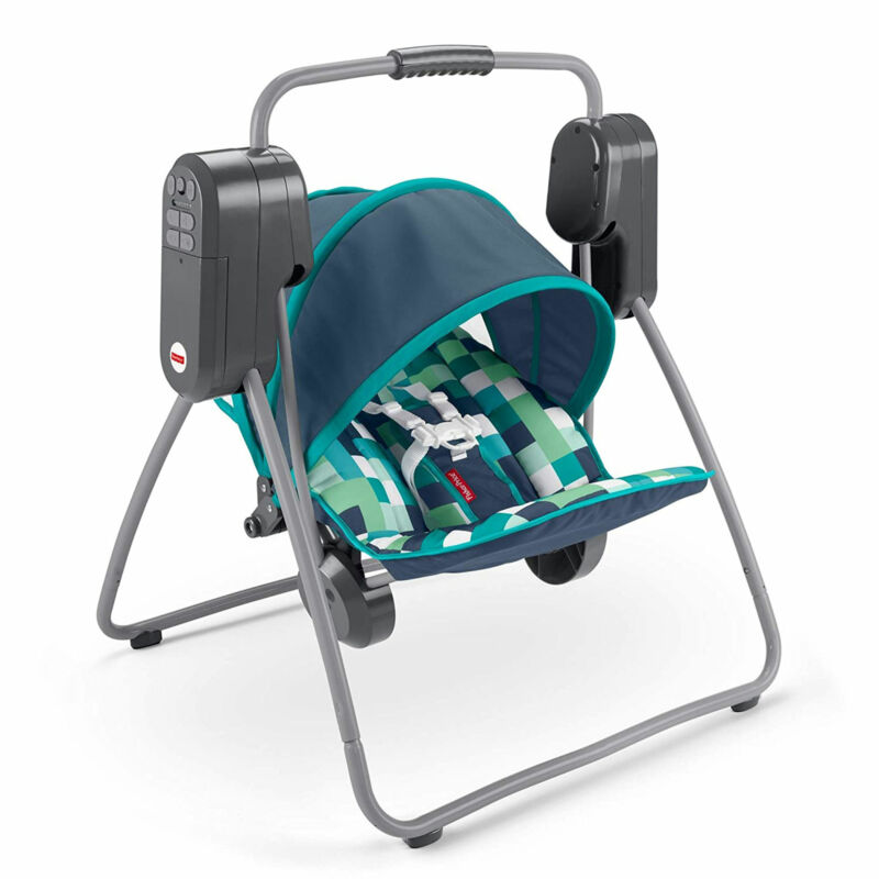 Fisher Price On the Go Baby Swing w/ 6 Swinging Speeds and UPF Protected Canopy