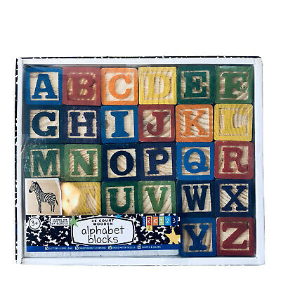 26 Alphabet Wooden Blocks  Learn Create Build MotorSkills Spell Match Colors New