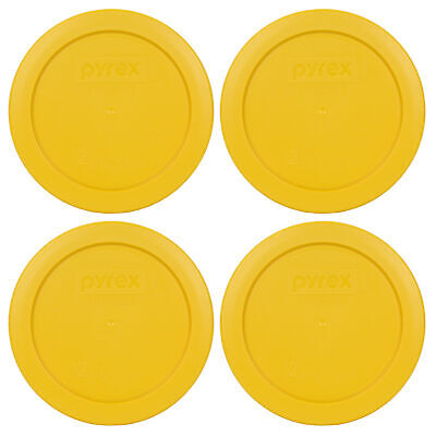 Yellow Plastic Bowls (Pyrex 7200-PC 2 Cup Butter Yellow Round Plastic Storage Lid 4PK for Glass)