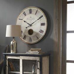 HARRISON GRAY  XXL 30 LAMINATED WEATHERED FINISH ROUND WALL CLOCK PENDULUM